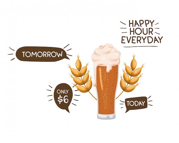 Aufkleber der glücklichen stunde mit bier lokalisierter ikone