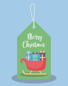 Aufkleber des wagens weihnachtsmann mit geschenkboxen