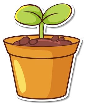 Aufkleber-design mit setzling-pflanze in einem topf isoliert