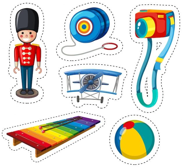 Aufkleber design mit verschiedenen spielsachen