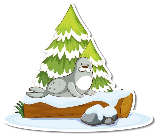 Aufkleber einen süßen seehundständer an einer mit schnee bedeckten kiefer