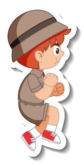 Aufkleber für kleine pfadfinder-cartoon-figur