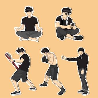 Aufkleber für verschiedene aktivitäten wie yoga, boxen und so weiter