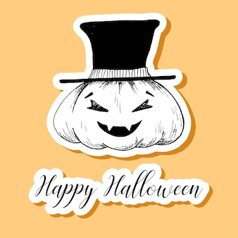 Aufkleber halloween kürbis. glückliche halloween-illustration.