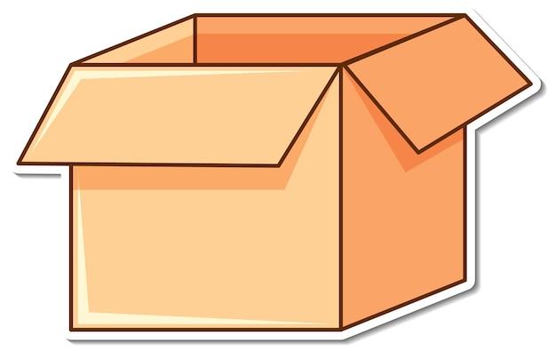 Aufkleber leere box auf weißem hintergrund geöffnet