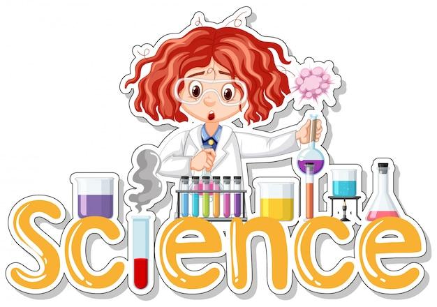 Aufkleber mit dem wissenschaftler, der experiment tut