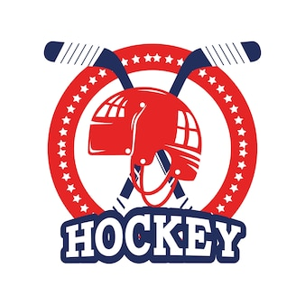Aufkleber mit hockey helm und stöcke ausrüstung