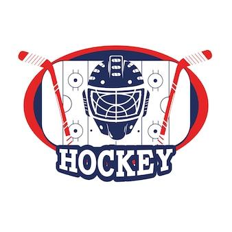 Aufkleber mit hockey-helm und stöcken in der eisbahn