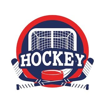 Aufkleber mit hockey ziel und puck mit stöcken