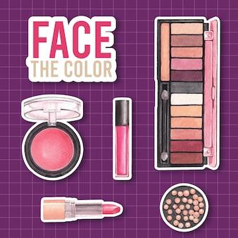Aufkleber mit make-up-konzeptentwurf für werbung und vermarktung aquarell.