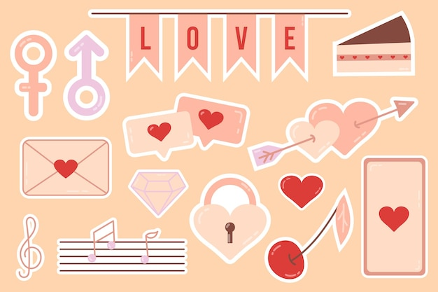 Aufkleber. schöne liebesaufkleber. romantische objekte für planer und veranstalter. wöchentlicher segelflieger. für social media, webdesign, mobile messaging, social media, online-kommunikation, postkarten und print.
