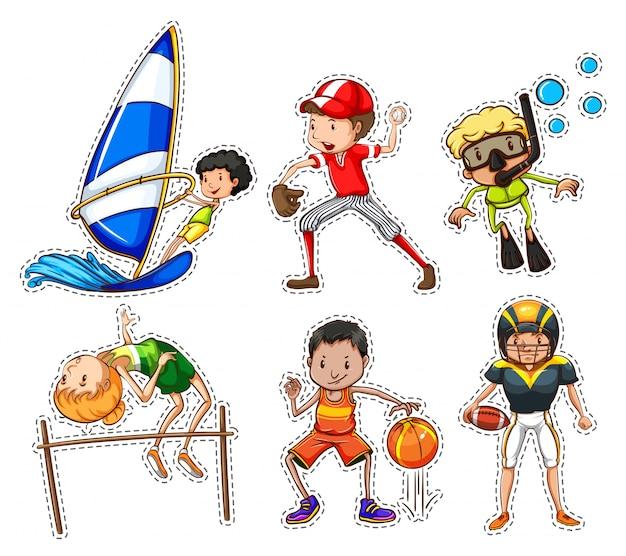 Aufkleber-set mit menschen, die sport-illustration