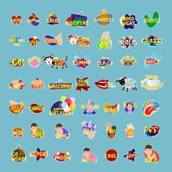 Aufkleber-set social media network message badges collection