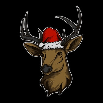 Aufkleber und t-shirt maskottchen charakter logo hirsch mit weihnachtsmütze