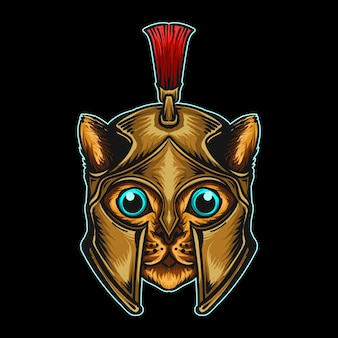 Aufkleber und t-shirt maskottchen charakter logo spartanische katze mit weihnachtsmütze