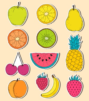 Aufkleber von hand gezeichneten früchten