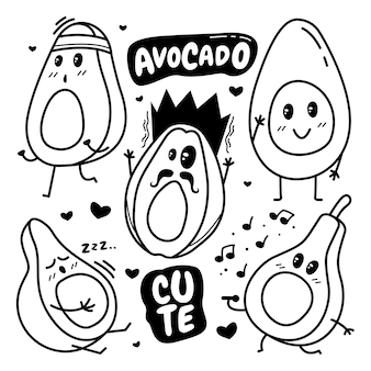 Aufkleber von kawaii avocado gekritzel