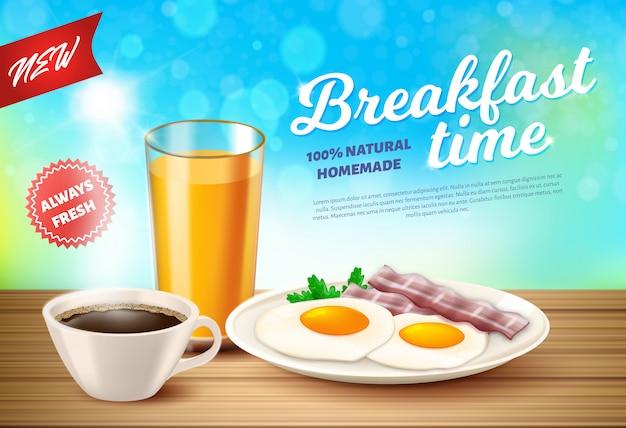Aufkleber wird der realistische frühstückszeit-vektor geschrieben.