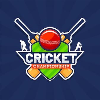 Aufkleberarttext cricket-meisterschaft mit cricketausrüstungen