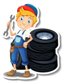 Aufkleberdesign mit automechaniker-cartoon-figur