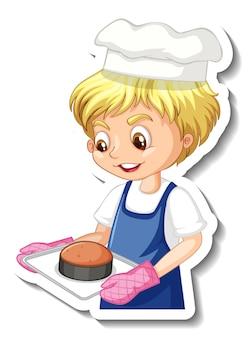 Aufkleberdesign mit bäckerjunge, der gebackenes tablett hält