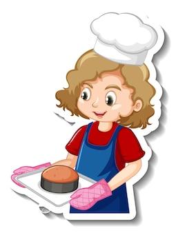 Aufkleberdesign mit bäckermädchen, das gebackenes tablett hält