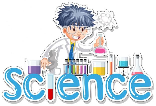 Aufkleberdesign mit dem wissenschaftler, der experiment tut
