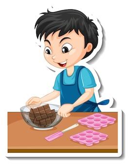 Aufkleberdesign mit einem bäckerjungen, der eine schokoladenschale hält