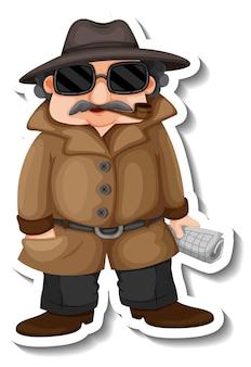Aufkleberdesign mit einem detektivjungen-cartoon-charakter