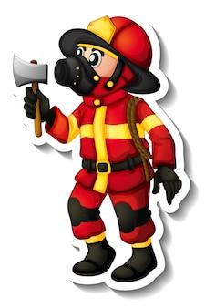 Aufkleberdesign mit einem feuerwehrmann-cartoon-charakter