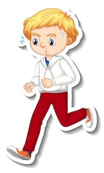 Aufkleberdesign mit einem jungen, der cartoon-figur joggt