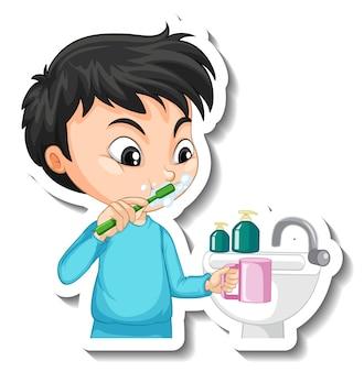 Aufkleberdesign mit einem jungen, der seine zahnzeichentrickfigur putzt