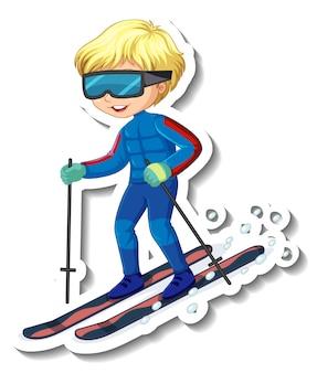 Aufkleberdesign mit einem jungen, der ski-cartoon-figur fährt