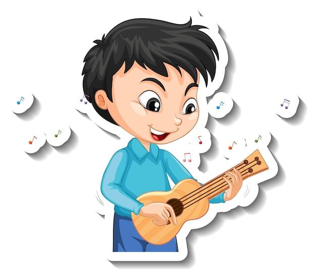 Aufkleberdesign mit einem jungen, der ukulele spielt