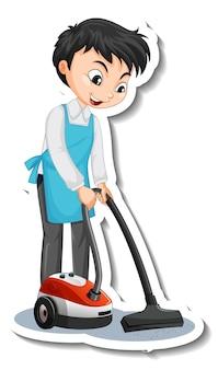 Aufkleberdesign mit einem jungen mann mit staubsauger