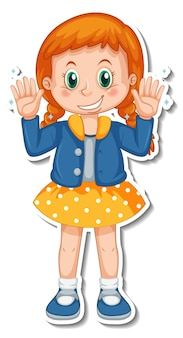 Aufkleberdesign mit einem mädchen, das ihre sauberen hände zeigt
