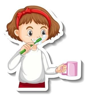 Aufkleberdesign mit einem mädchen, das ihre zahnzeichentrickfigur putzt