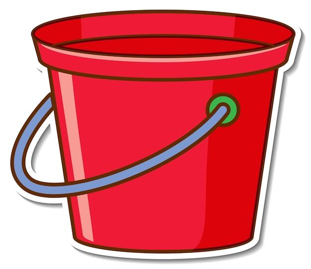 Aufkleberdesign mit einem roten eimer isoliert