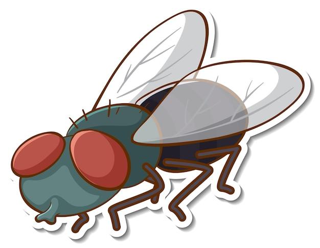 Aufkleberdesign mit fliegeninsekt isoliert