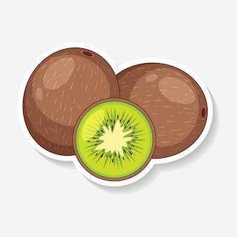 Aufkleberdesign mit frischer kiwi