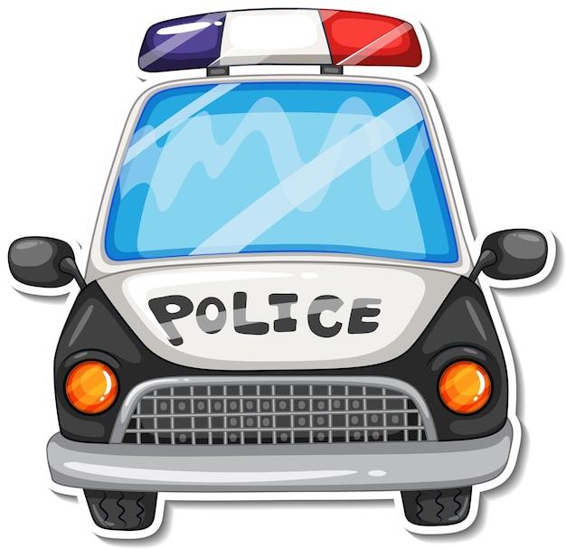 Aufkleberdesign mit frontansicht des polizeiautos isoliert