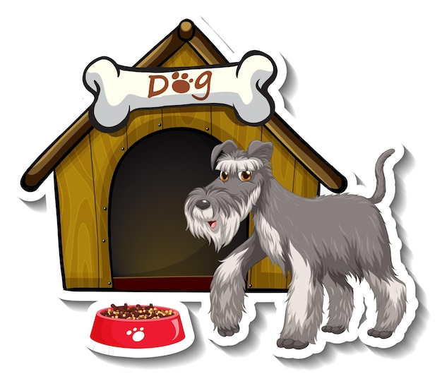 Aufkleberdesign mit grauem schnauzerhund, der vor hundehütte steht