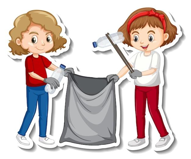 Aufkleberdesign mit kindern, die müll sammeln