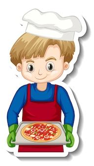 Aufkleberdesign mit kochjunge, der pizzablech hält