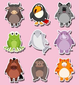 Aufkleberdesign mit niedlichen tierfiguren
