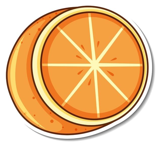 Aufkleberdesign mit orangenfrucht isoliert