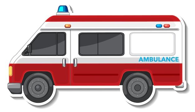 Aufkleberdesign mit seitenansicht des krankenwagens isoliert