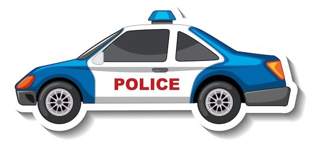 Aufkleberdesign mit seitenansicht des polizeiautos isoliert