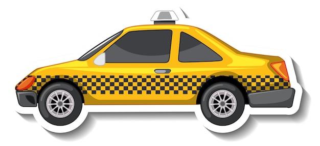 Aufkleberdesign mit seitenansicht eines taxiautos isoliert