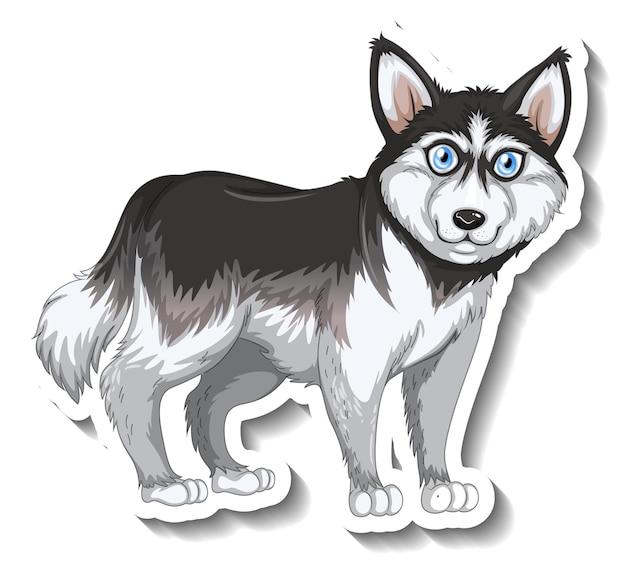 Aufkleberdesign mit sibirischem husky-hund isoliert